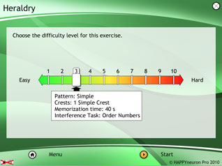 Sample of detailed control panel for selecting difficulty level